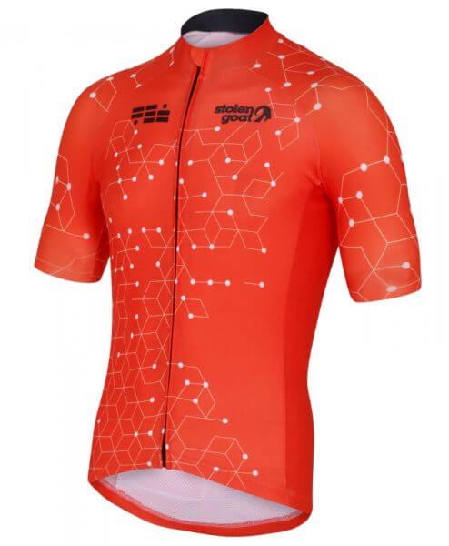 stolen goat orange cycling jersey mens intergalactic front