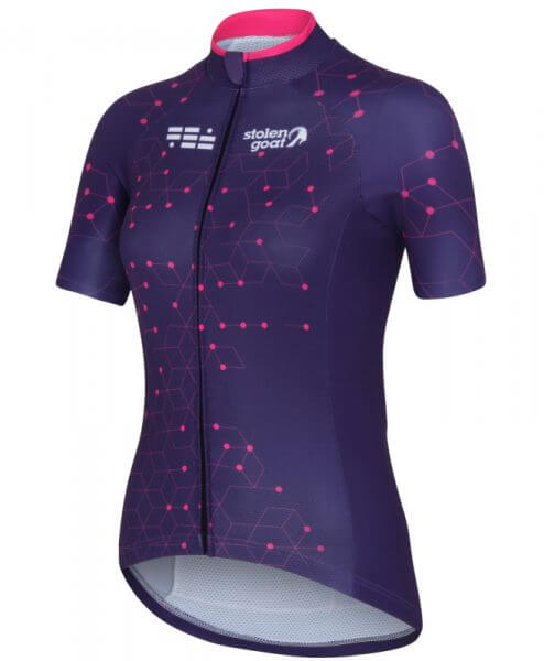 stolen goat purple cycling jersey ladeis intergalactic front
